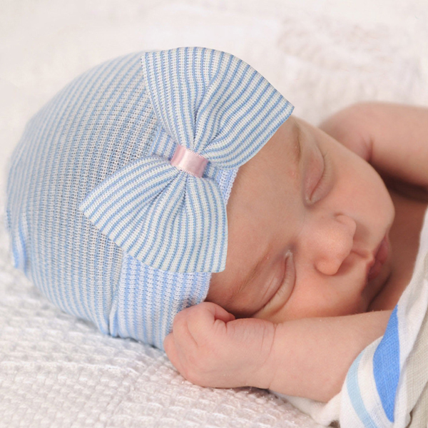 blue newborn baby hat bow