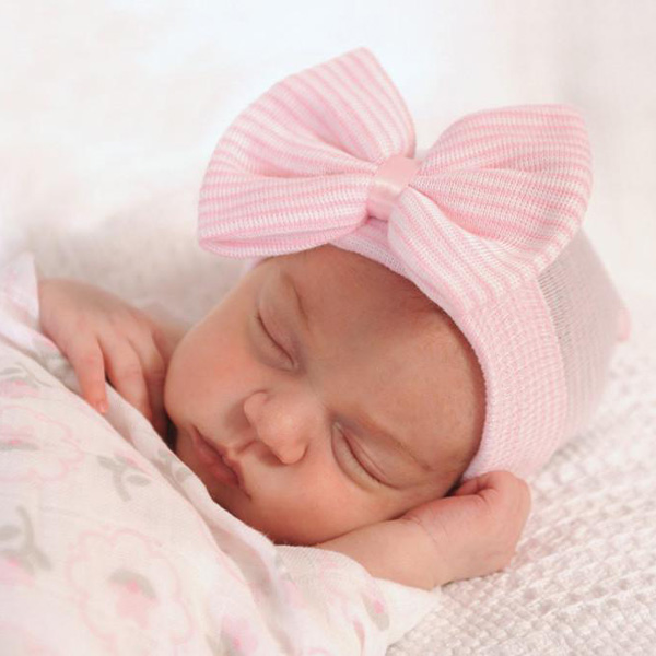 pink baby hats with bow