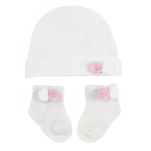 pink and white hat and sock set