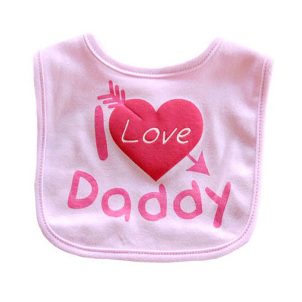 pink i love daddy baby bibs