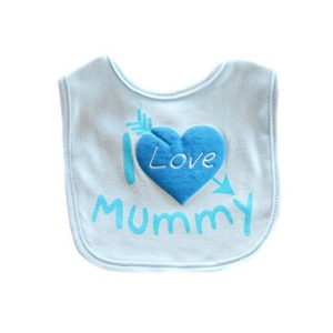 blue i love mummy baby bibs