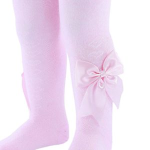pink bow baby tights