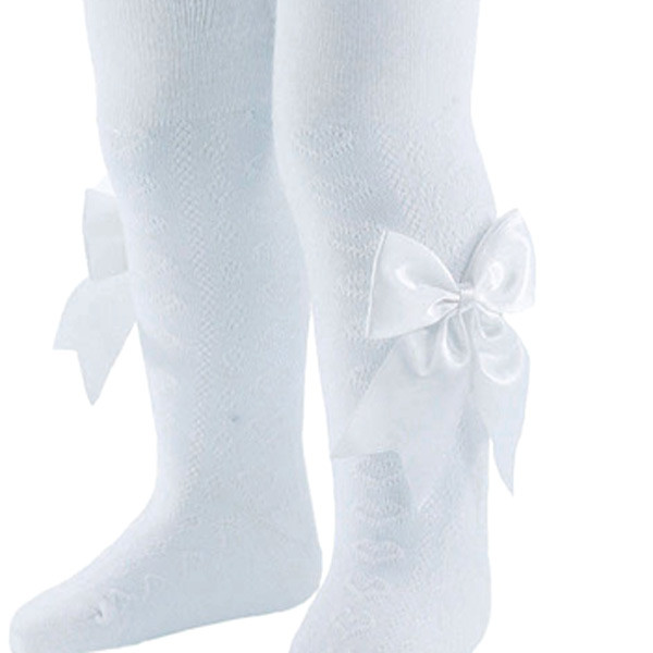 baby bow tights white