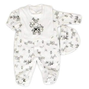 white baby sleepsuit layette set