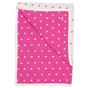 pink organic knitted baby blanket