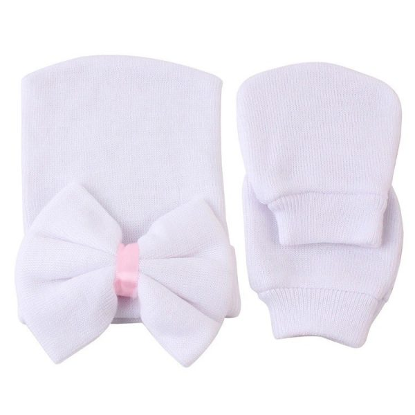 newborn baby hat white bow