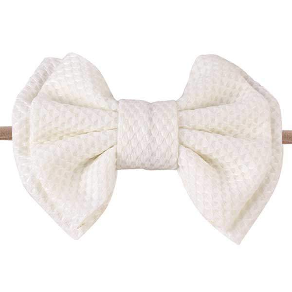 baby hair bow headband white
