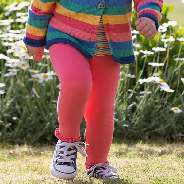 girls leggings pink organic cotton
