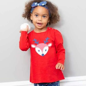 girls red Christmas top