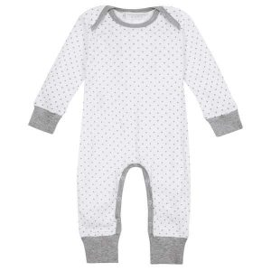 Wonderfully soft organic cotton long sleeve baby bodysuit with envelope neck for  easy dressing and undressing.