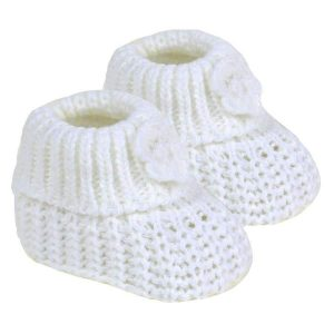 white knitted baby booties