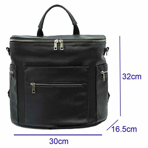 black leather baby changing bag backpack