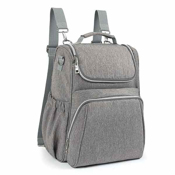 Meet your new favourite backpack baby changing bag in stylish grey – versatile, lightweight and surprisingly roomy for its compact size.