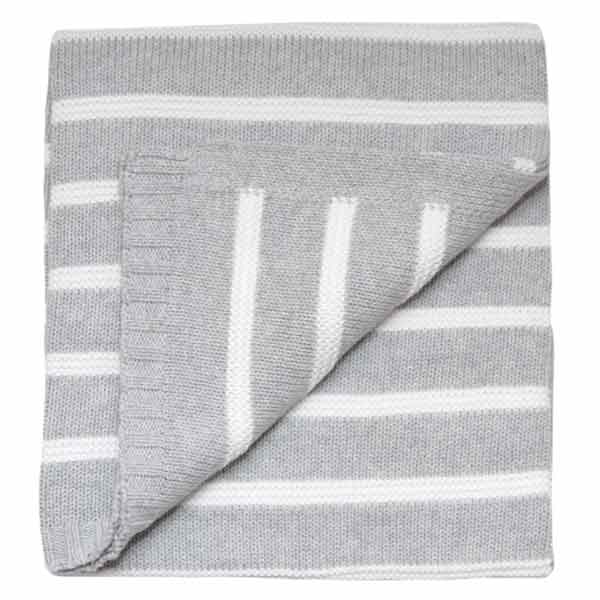 grey knitted baby blanket